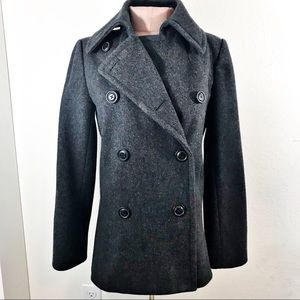 J Crew Double Breasted Wool Peacoat Gray